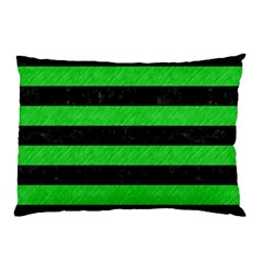 Stripes2 Black Marble & Green Colored Pencil Pillow Case by trendistuff