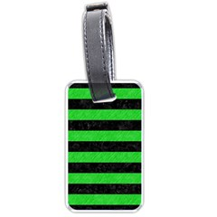 Stripes2 Black Marble & Green Colored Pencil Luggage Tags (one Side)  by trendistuff