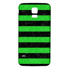 Stripes2 Black Marble & Green Colored Pencil Samsung Galaxy S5 Back Case (white) by trendistuff