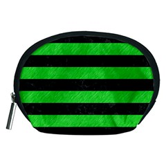 Stripes2 Black Marble & Green Colored Pencil Accessory Pouches (medium)  by trendistuff