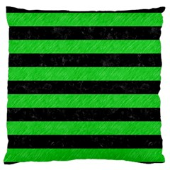 Stripes2 Black Marble & Green Colored Pencil Standard Flano Cushion Case (one Side) by trendistuff