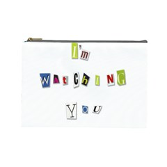 I Am Watching You Cosmetic Bag (large)  by Valentinaart