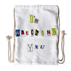 I Am Watching You Drawstring Bag (large) by Valentinaart