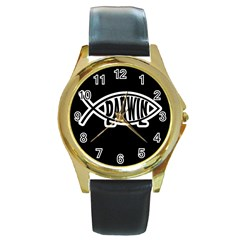Darwin Fish Round Gold Metal Watch by Valentinaart