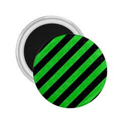 Stripes3 Black Marble & Green Colored Pencil 2 25  Magnets by trendistuff