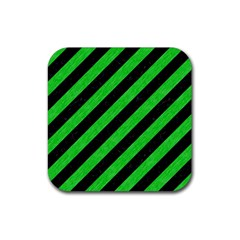 Stripes3 Black Marble & Green Colored Pencil Rubber Square Coaster (4 Pack)  by trendistuff