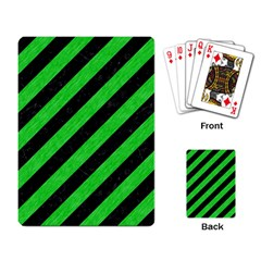 Stripes3 Black Marble & Green Colored Pencil Playing Card by trendistuff