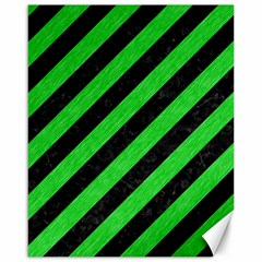 Stripes3 Black Marble & Green Colored Pencil Canvas 16  X 20