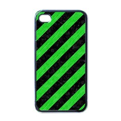 Stripes3 Black Marble & Green Colored Pencil Apple Iphone 4 Case (black) by trendistuff