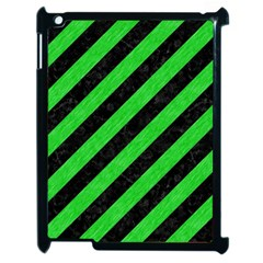 Stripes3 Black Marble & Green Colored Pencil Apple Ipad 2 Case (black) by trendistuff