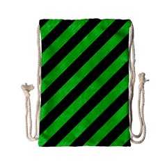 Stripes3 Black Marble & Green Colored Pencil Drawstring Bag (small) by trendistuff
