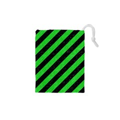 Stripes3 Black Marble & Green Colored Pencil Drawstring Pouches (xs)  by trendistuff