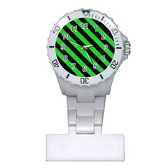 Stripes3 Black Marble & Green Colored Pencil (r) Plastic Nurses Watch