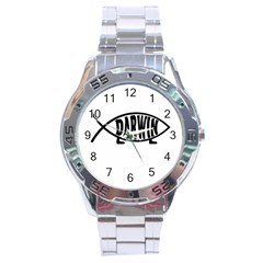 Darwin Fish Stainless Steel Analogue Watch by Valentinaart