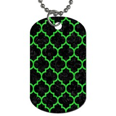 Tile1 Black Marble & Green Colored Pencil Dog Tag (two Sides) by trendistuff