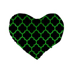 Tile1 Black Marble & Green Colored Pencil Standard 16  Premium Flano Heart Shape Cushions by trendistuff