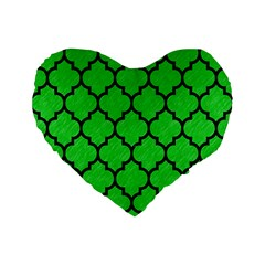 Tile1 Black Marble & Green Colored Pencil (r) Standard 16  Premium Flano Heart Shape Cushions by trendistuff