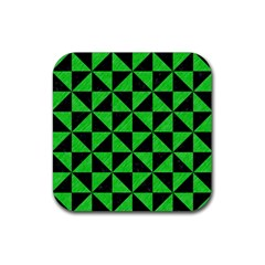 Triangle1 Black Marble & Green Colored Pencil Rubber Square Coaster (4 Pack)  by trendistuff