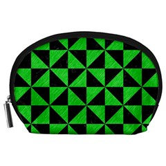 Triangle1 Black Marble & Green Colored Pencil Accessory Pouches (large)  by trendistuff