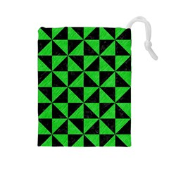Triangle1 Black Marble & Green Colored Pencil Drawstring Pouches (large)  by trendistuff