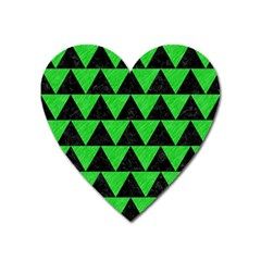 Triangle2 Black Marble & Green Colored Pencil Heart Magnet by trendistuff