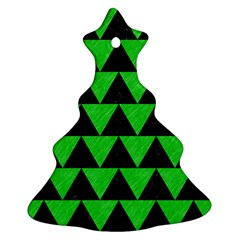 Triangle2 Black Marble & Green Colored Pencil Christmas Tree Ornament (two Sides)