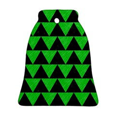 Triangle2 Black Marble & Green Colored Pencil Bell Ornament (two Sides) by trendistuff