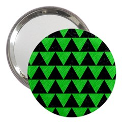Triangle2 Black Marble & Green Colored Pencil 3  Handbag Mirrors by trendistuff