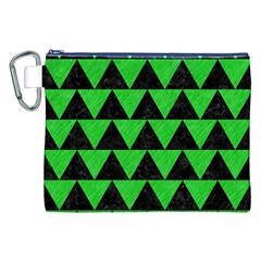 Triangle2 Black Marble & Green Colored Pencil Canvas Cosmetic Bag (xxl)