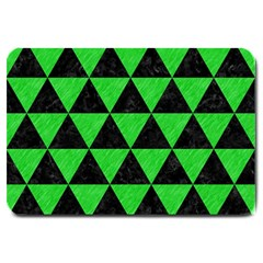Triangle3 Black Marble & Green Colored Pencil Large Doormat