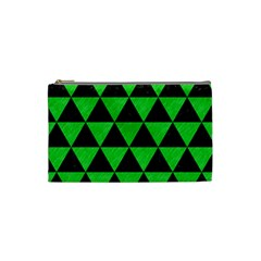 Triangle3 Black Marble & Green Colored Pencil Cosmetic Bag (small)  by trendistuff