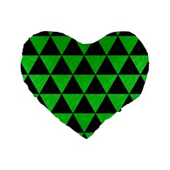 Triangle3 Black Marble & Green Colored Pencil Standard 16  Premium Heart Shape Cushions by trendistuff