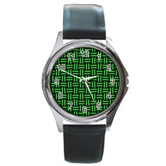 Woven1 Black Marble & Green Colored Pencil Round Metal Watch by trendistuff