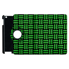 Woven1 Black Marble & Green Colored Pencil Apple Ipad 2 Flip 360 Case by trendistuff