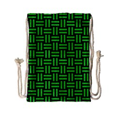 Woven1 Black Marble & Green Colored Pencil Drawstring Bag (small) by trendistuff
