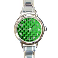 Woven1 Black Marble & Green Colored Pencil (r) Round Italian Charm Watch by trendistuff