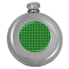 Woven1 Black Marble & Green Colored Pencil (r) Round Hip Flask (5 Oz) by trendistuff