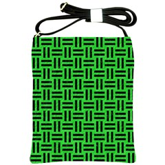 Woven1 Black Marble & Green Colored Pencil (r) Shoulder Sling Bags by trendistuff