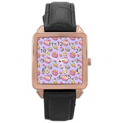 Sweet Pattern Rose Gold Leather Watch  by Valentinaart