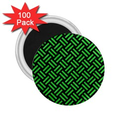 Woven2 Black Marble & Green Colored Pencil 2 25  Magnets (100 Pack)  by trendistuff