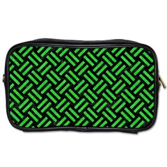 Woven2 Black Marble & Green Colored Pencil Toiletries Bags 2 Side by trendistuff
