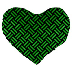 Woven2 Black Marble & Green Colored Pencil Large 19  Premium Heart Shape Cushions by trendistuff