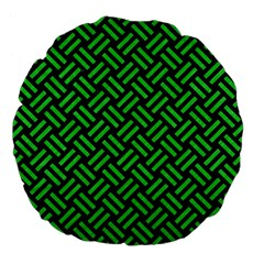 Woven2 Black Marble & Green Colored Pencil Large 18  Premium Flano Round Cushions by trendistuff