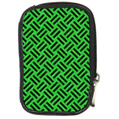 Woven2 Black Marble & Green Colored Pencil (r) Compact Camera Cases by trendistuff