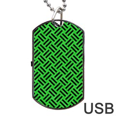Woven2 Black Marble & Green Colored Pencil (r) Dog Tag Usb Flash (two Sides) by trendistuff