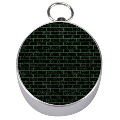 Brick1 Black Marble & Green Leather Silver Compasses by trendistuff