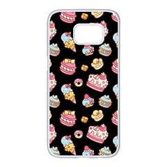 Sweet Pattern Samsung Galaxy S7 Edge White Seamless Case by Valentinaart