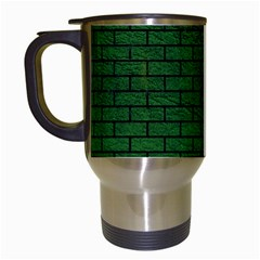 Brick1 Black Marble & Green Leather (r) Travel Mugs (white) by trendistuff