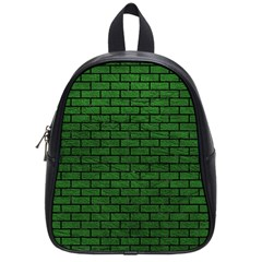 Brick1 Black Marble & Green Leather (r) School Bag (small) by trendistuff