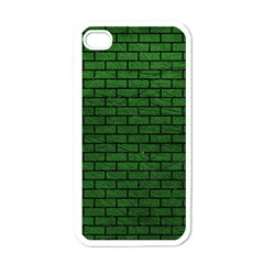 Brick1 Black Marble & Green Leather (r) Apple Iphone 4 Case (white) by trendistuff